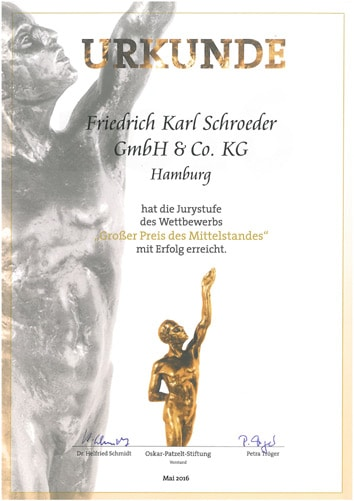 Großer Preis des Mittelstandes Jury 2016 Urkunde