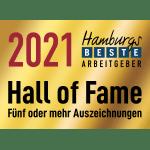 Hamburgs beste Arbeitgeber Hall of Fame 2021